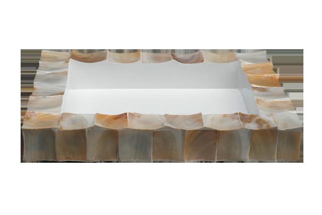 Schelpen Windlicht Vierkant - Wit